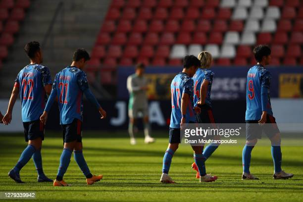 The Japanese players leave the field following the international friendly match between Japan and Cameroon at Stadion Galgenwaard on October 09, 2020...