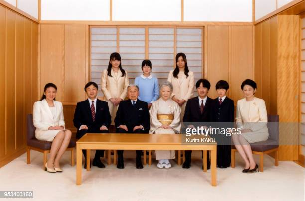 The japanese royal family emperor Akihito bottom third left and empress Michiko bottom center crown prince Naruhito bottom second left his wife...