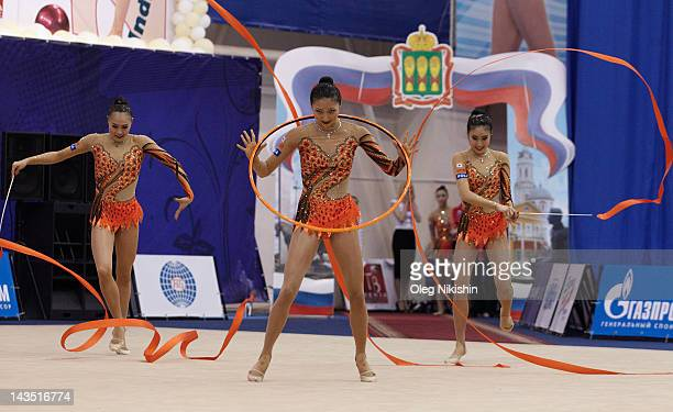The Japanese team competes during the FIG Rhythmic Gymnastics World Cup in Penza on April 28 2012 in Penza Russia