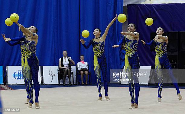 The Japanese team in action during competition of FIG Rhythmic Gymnastics World Cup in Penza on April 28 2012 in Penza Russia