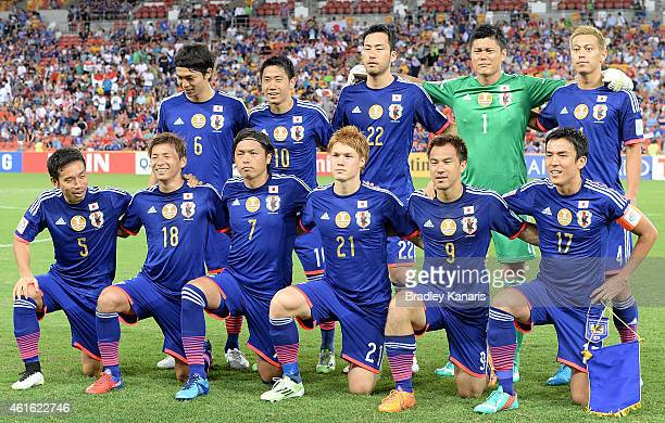 The Japanese team pose for a photo before the 2015 Asian Cup match between Iraq and Japan at Suncorp Stadium on January 16 2015 in Brisbane Australia