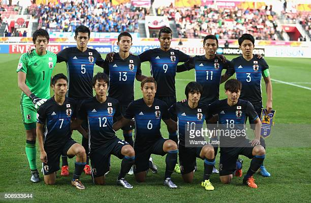 The Japanese team pose for picture ahead of the AFC U23 Championship semi final match between Japan and Iraq at the Abdullah Bin Khalifa Stadium on...