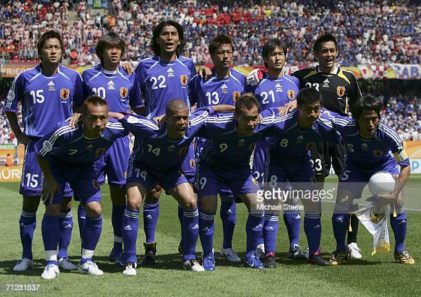 The Japanese team pose for the cameras prior to kickoff during the FIFA World Cup Germany 2006 Group F match between Japan and Croatia at the...