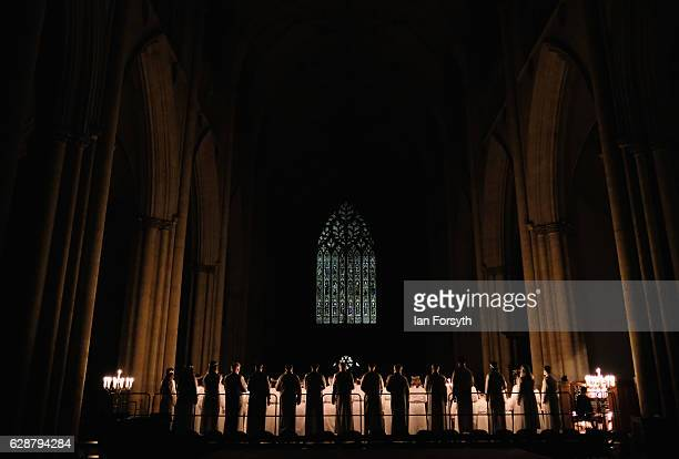 The Jarfalla chamber choir and Vaxholm Boys Quintet from Stockholm Sweden perform traditional Swedish Christmas songs and carols during the Swedish...