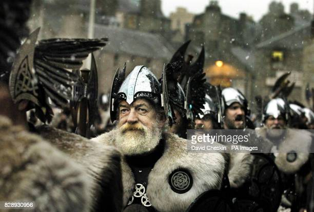 The Jarl Squad at Shetlands Alexander wharf at the start of the celebrations for the Up Helly Aa Viking festival held in Lerwick Shetland Islands The...