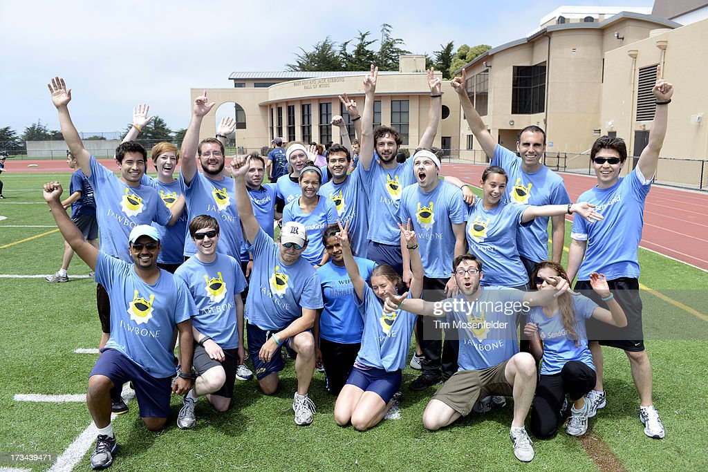 The Jawbone team pose at the Founder Institute's Silicon Valley Sports League on July 13, 2013 in San Francisco, California.