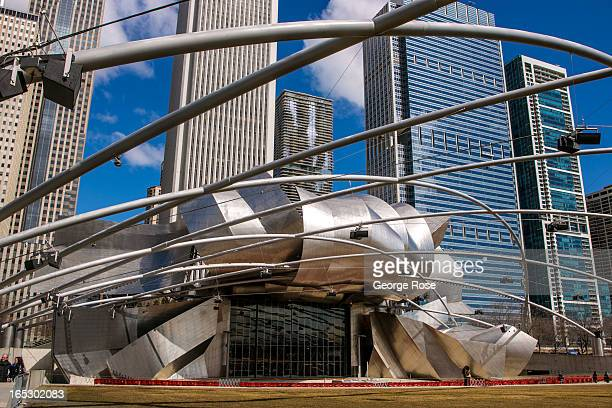 The Jay Pritzker Pavilion designed by Frank Gehry is readied for summer outdoor music performances on March 26 2013 in Chicago Illinois Visitors to...