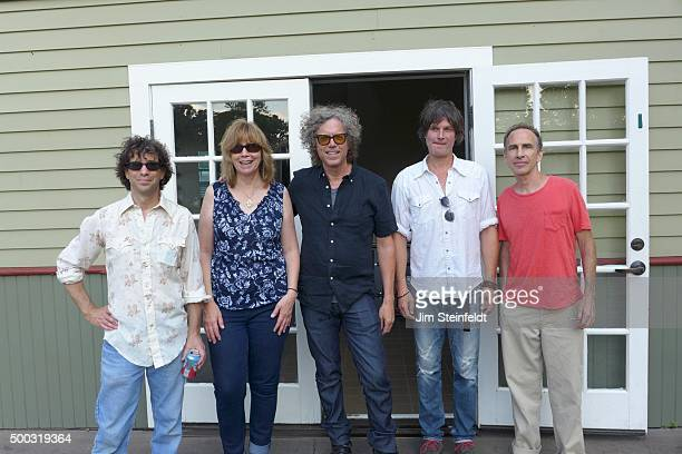 The jayhawks Marc Perlman Karen Grotberg Gary Louris Kraig Johnson and Tim O'Reagan pose for a portrait in Loring Park in Minneapolis Minnesota on...