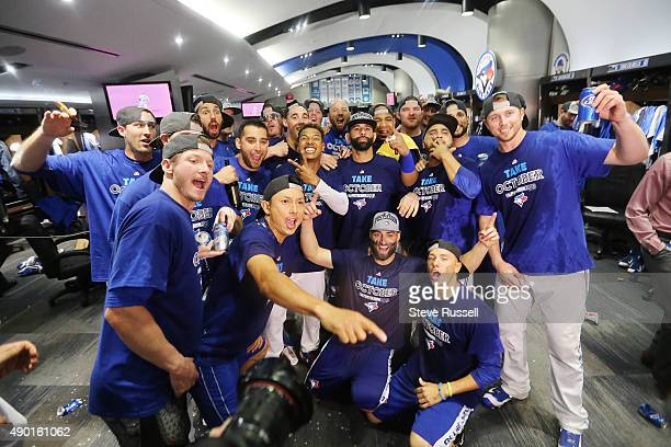 TORONTO ON SEPTEMBER 26 The Jays celebrate in their clubhouse The playoff bound Toronto Blue Jays beat the Tampa Bay Rays 108 at Rogers Centre in...