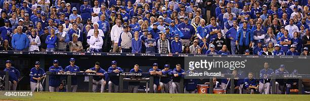 The Jays line up on the dugout with one out in the ninth The Toronto Blue Jays and the Kansas City Royals play game six of the MLB American League...