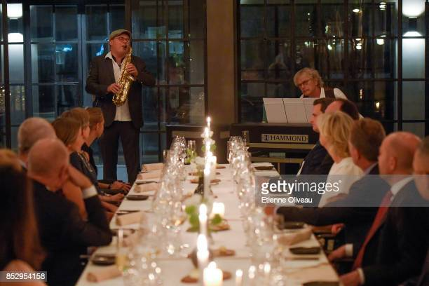 The jazz duo Anders and Benjamin Koppel plays during a dinner hosted by the Danish Industry Foundation and the City of Copenhagen at The Georg during...