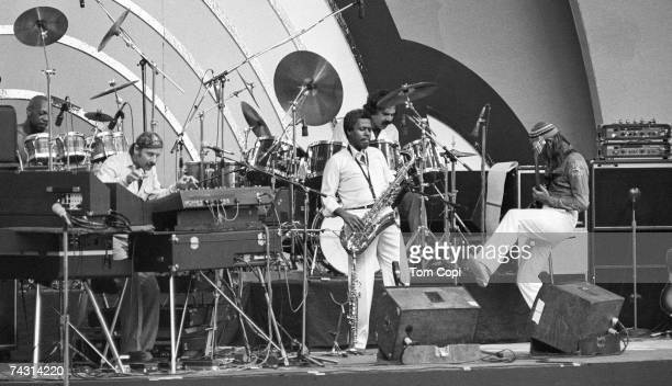 The jazz group 'Weather Report' performs on stage at the Playboy Jazz Festival at the Hollywood Bowl in Los Angeles in June 1981
