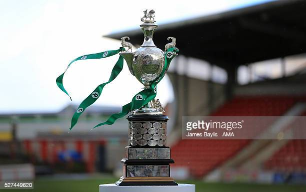 The JD Welsh Cup trophy before the JD Welsh Cup Final match between Airbus UK Broughton and The New Saints at Racecourse Ground on May 2, 2016 in...