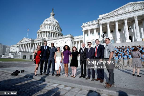 The JDRF 2019 Children's Congress T1D Role Models pose before the hearing on Type 1 Diabetes at the Dirksen Senate Office Building on July 10 2019 in...