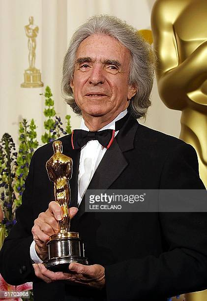 The Jean Hersholt Humanitarian Award recipient Canadian-born director Arthur Hiller holds his Oscar backstage at the 74th Annual Academy Awards at...