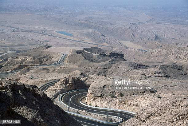 The Jebel Hafeet Mountain Road, near Al Ain, Abu Dhabi, United Arab Emirates.