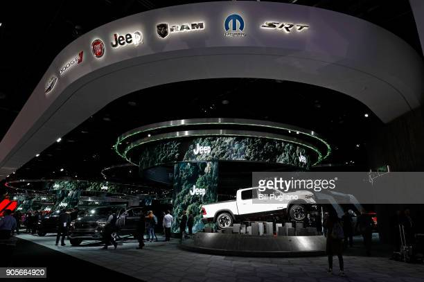 The Jeep exhibit is shown at the 2018 North American International Auto Show January 16 2018 in Detroit Michigan More than 5100 journalists from 61...