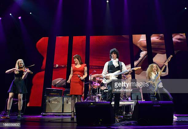 The Jeff Beck band performs on stage during the 2013 Crossroads Guitar Festival at Madison Square Garden on April 13 2013 in New York City