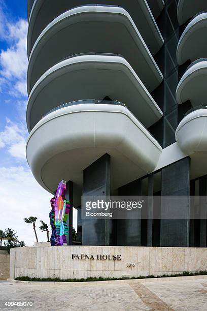 The Jeff Koons sculpture Coloring Book stands in front of the Faena House in Miami Florida US on Tuesday Nov 24 2015 The biggest news out of Miami...