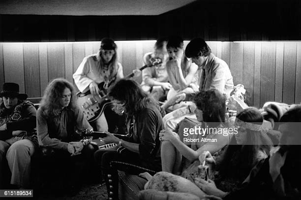 The Jefferson Airplane hang out backstage at The Family Dog At The Great Highway on June 13 1969 in San Francisco California