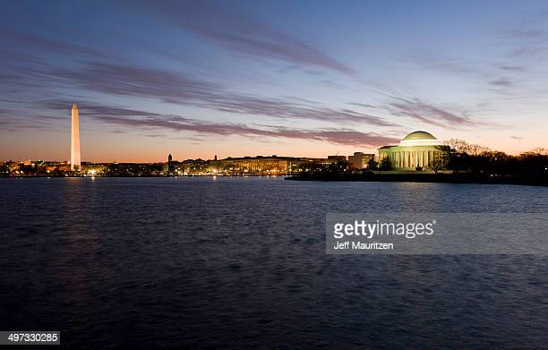 The Jefferson Memorial and Washington Monument at sunrise.