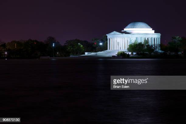 The Jefferson Memorial in Washington, D.C. is lit up at night time