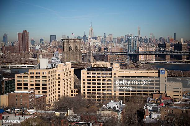 The Jehovah's Witnesses' world headquarters buildings at 50 Columbia Heights front left and 25 Columbia Heights front right stand in the Brooklyn...