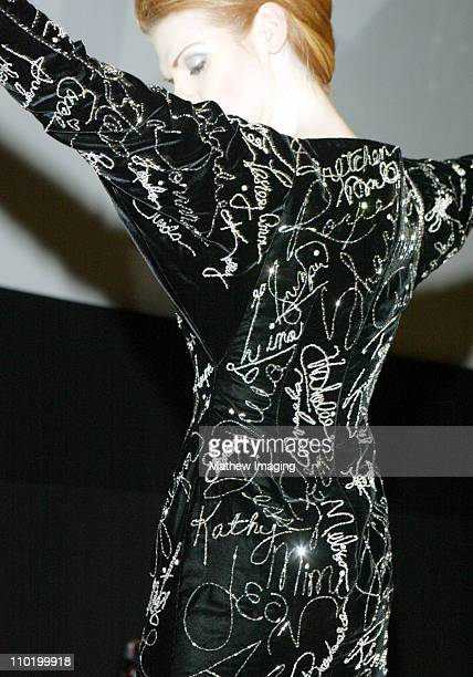 The Jeran Hollywood Graffiti gown with more than 24 years of actresses signatures in platinum Bugle beads Rochelle beads and Swarovski crystal stones...