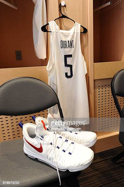 The jersey and sneakers of Kevin Durant of the USA Basketball Men's National Team are displayed in the locker room before the game against Argentina...