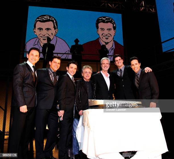 The Jersey Boys Frankie Valli and Bob Gaudio celebrate 2 year with a platinum record commemoration at The Palazzo on April 24 2010 in Las Vegas Nevada