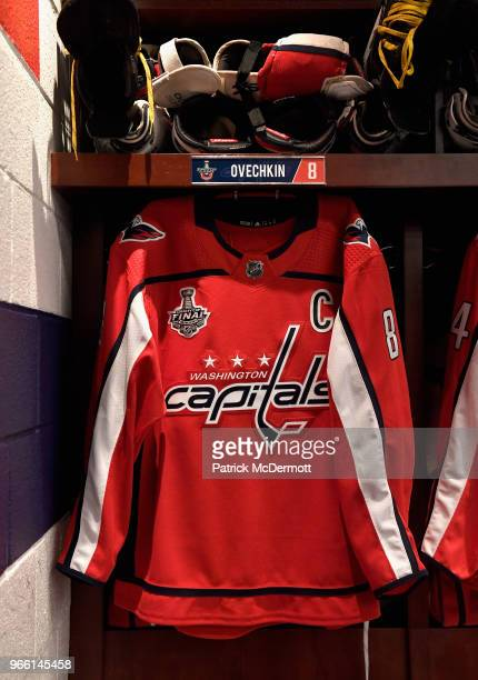 The jersey of Alex Ovechkin of the Washington Capitals hangs in the Washington Capitals locker room before Game Three of the 2018 NHL Stanley Cup...