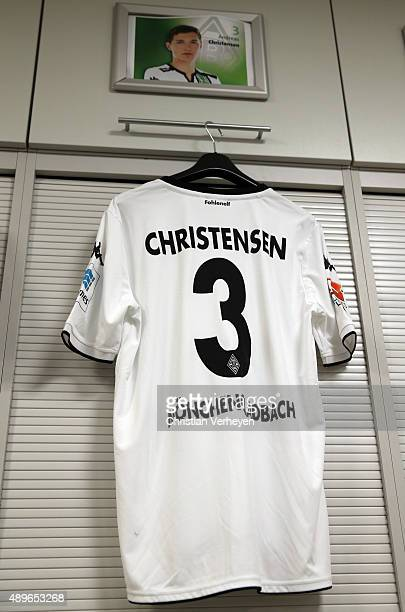 The jersey of Andreas Christensen inside the dressing room of Borussia Moenchengladbach ahead the Bundesliga match between Borussia Moenchengladbach...