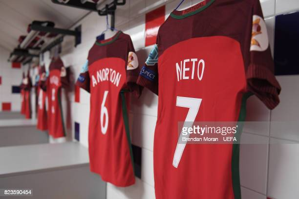 The jersey of captain Cl·udia Neto in the Portugal dressingroom prior to the UEFA Women's EURO 2017 Group D match between Portugal and England at...