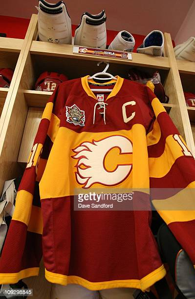 dbd1efcd392 The jersey of captain Jarome Iginla of the Calgary Flames hangs in his  locker room stall