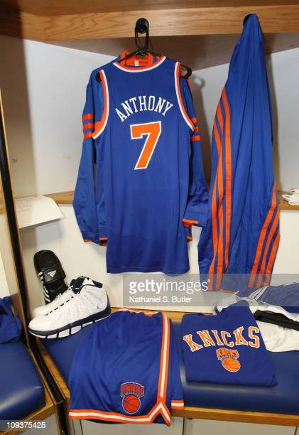 The jersey of Carmelo Anthony of the New York Knicks hangs in the locker room prior to a game played against the Milwaukee Bucks on February 23 2011...