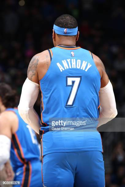 The jersey of Carmelo Anthony of the Oklahoma City Thunder as seen during the game against the Minnesota Timberwolves on January 10 2018 at Target...