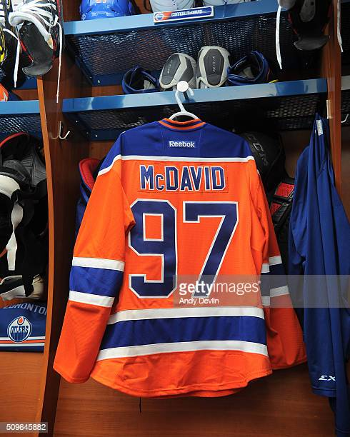 The jersey of Connor McDavid of the Edmonton Oilers hangs in the locker room prior to the game against the Toronto Maple Leafs on February 11 2016 at...