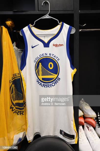 The jersey of DeMarcus Cousins of the Golden State Warriors is seen in the locker room prior to a game against the LA Clippers on January 18 2019 at...