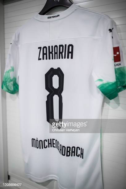 The jersey of Denis Zakaria of Borussia Moenchengladbach is seen in the teamroom before the Bundesliga match between Borussia Moenchengladbach and...