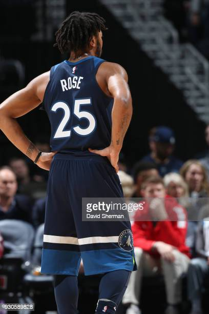 The jersey of Derrick Rose of the Minnesota Timberwolves as seen during the game against the Golden State Warriors on March 11 2018 at Target Center...