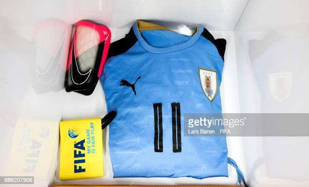 The jersey of Diego de la Cruz of Uruguay is seen in the dressing room during the FIFA U20 World Cup Korea Republic 2017 group D match between Italy...