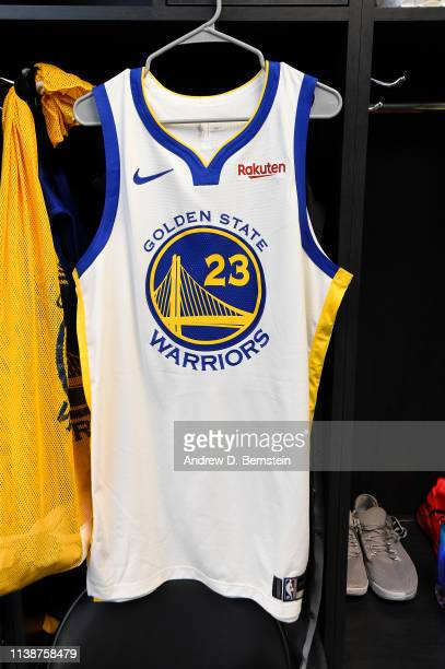 The jersey of Draymond Green of the Golden State Warriors is seen in the locker room before Game Four of Round One of the 2019 NBA Playoffs against...