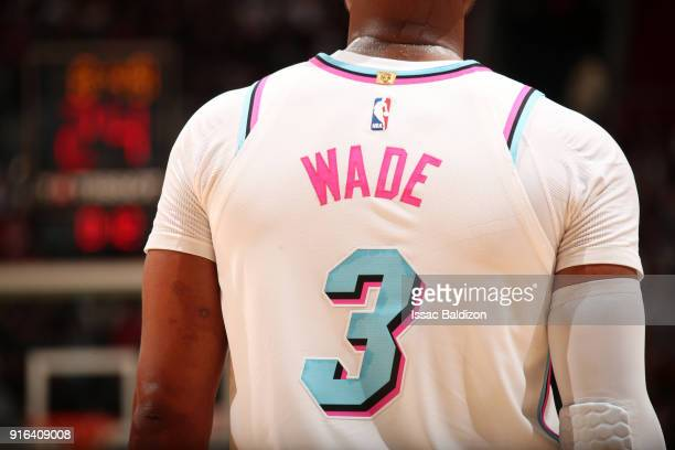 The jersey of Dwyane Wade of the Miami Heat as seen during the game against the Milwaukee Bucks on February 9 2018 at American Airlines Arena in...