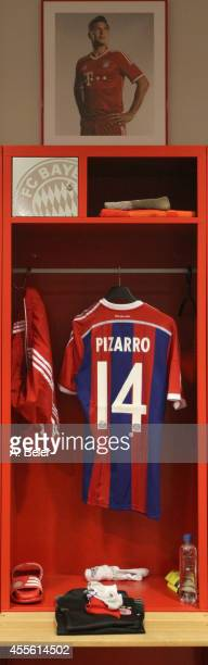 The jersey of FC Bayern Muenchen player Claudio Pizarro is pictured in the changing room before the UEFA Champions League Group E match between FC...