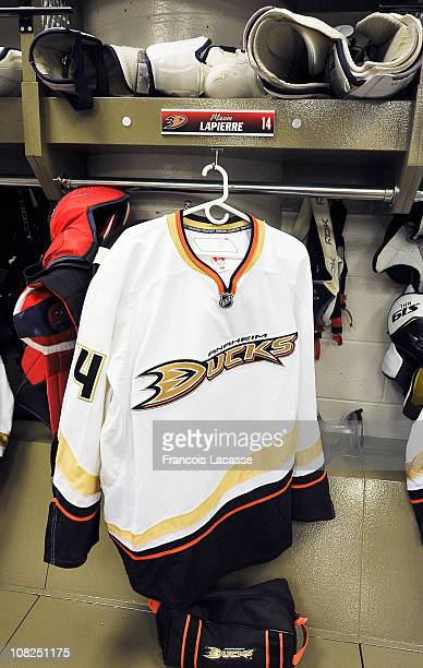 The jersey of former Montreal Canadiens player Maxim Lapierre now of the Anaheim Ducks is seen in the dressing room before playing his old team on...