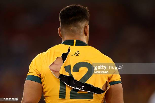 The jersey of Hunter Paisami of the Wallabies is seen torn during the 2020 Tri-Nations match between the Australian Wallabies and the Argentina Pumas...