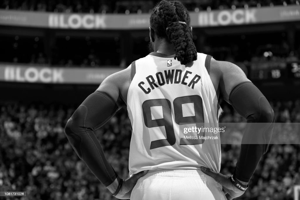 buy popular 1b76a 43295 The jersey of Jae Crowder of the Utah Jazz as seen during ...
