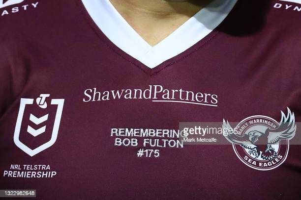 The jersey of Jake Trbojevic of the Sea Eagles remembers Bob Fulton during the round 14 NRL match between the Manly Sea Eagles and the North...