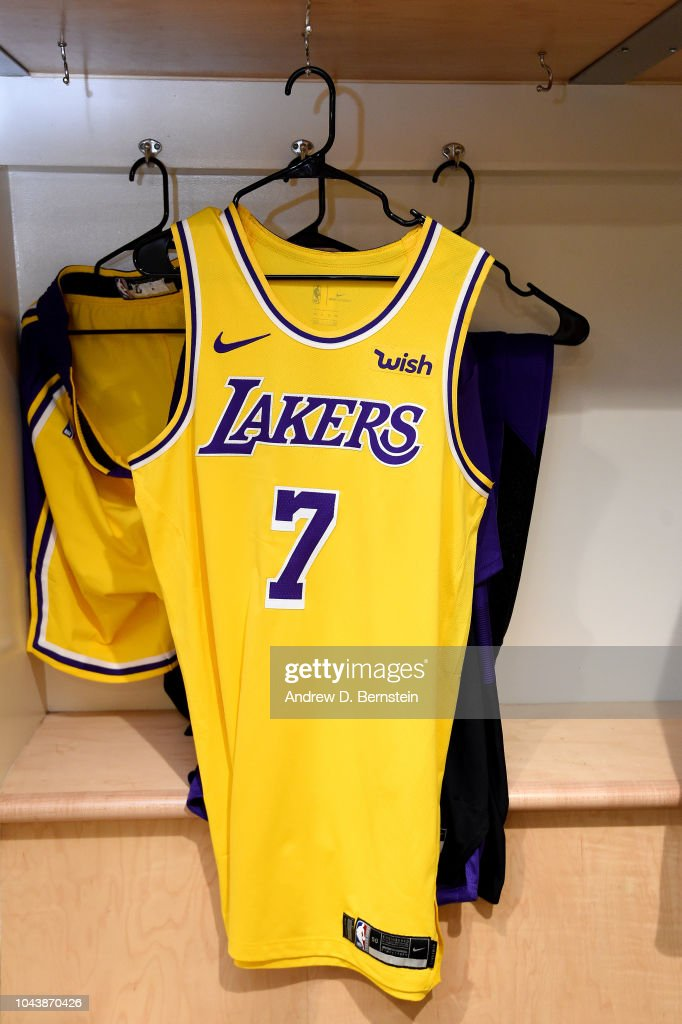 new styles 46d05 c56f6 The jersey of JaVale McGee of the Los Angeles Lakers seen in ...