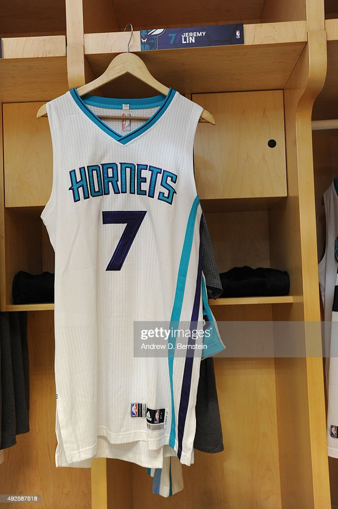 check out d3946 b4cab The jersey of Jeremy Lin of the Charlotte Hornets hangs in ...